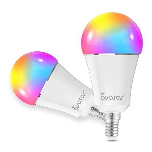 Bombilla LED Inteligente WiFi, E14 Multicolor RGB LED Luces 9W=90W Equivalente 900LM Lámpara WiFi Ahorro de Energia Smart Light Bulb Compatible con Alexa/Google Home/Smart Life, 2Pcs