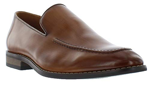 Giorgio Brutini Calvin Brown & Black Slip On Mens Dress Shoes, Moc Toe Loafers, Cognac, 10.5 M US