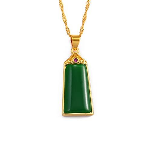 Kkoqmw Dijes rectangulares Colgantes Collares Elemento Chino Adornos Joyas de Piedra Verde