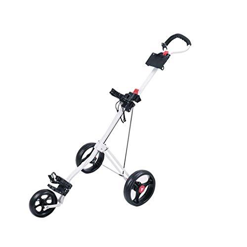 BGSFF Carrito de golf con 3 ruedas, carrito de mano plegable, fácil de empujar y tirar de la carro, rápido abrir y cerrar carrito de golf