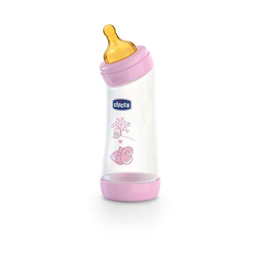Chicco Wellbeing - Biberón con tetina inclinada de látex y flujo normal para bebé de 4 meses en adelante, 250 ml, rosa