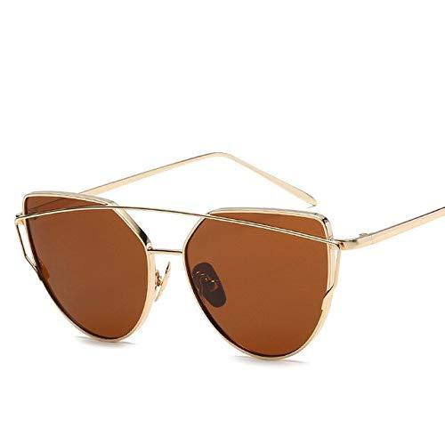 2021 moda ojo de gato vintage oro rosa espejo mujer gafas de sol metal reflectante lente plana turismo gafas de sol estilo multicolor