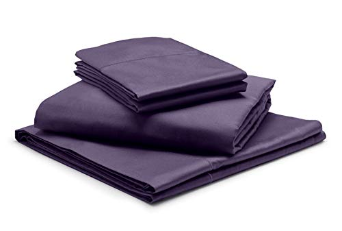 """1000-Thread-Count 100% Egyptian Cotton Plum RV-King Sheets Set, 4-Piece Extra Long-Staple Combed Cotton Best-Bedding Sheets, Breathable Soft & Silky Sateen Weave Fits Mattress 19"""" Deep Pocket"""