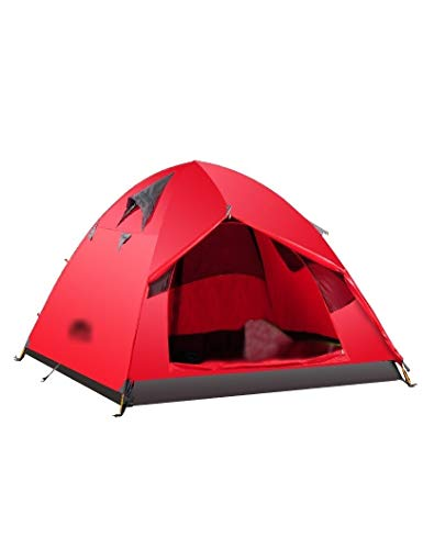 HJQZP888 Tienda De Campaña De Dos Pisos para Acampar Al Aire Libre, Una Habitación, Toldo A Prueba De Viento Y Transpirable, Adecuado para 2-3 Personas (Color : Red)