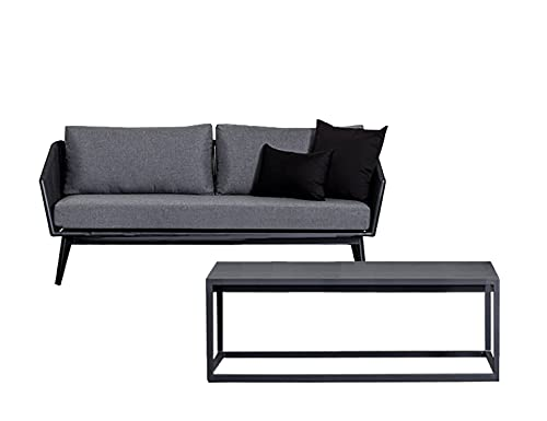 Muebletmoi - Salón de jardín de cuerda negro con 1 sofá de 3 plazas y cojines blandos de tela y 1 mesa baja de aluminio gris antracita con tablero de cristal templado – Paradise