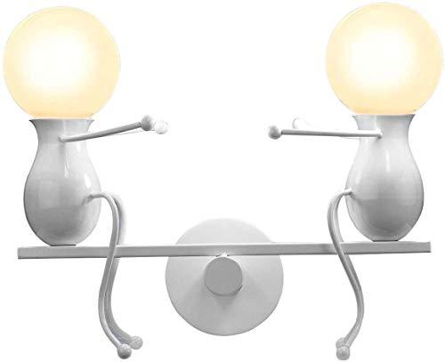 FSTH Creativo Lámparas de Pared Humanoide Apliques de Pared Dormitorio Decoración Moderna Lámpara de Pared Metal Lámpara de Pared para Dormitorio, Escalera, Pasillo, Restaurante, Cocina E27 (Blanco)