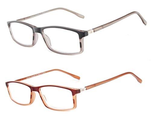 Atlantic Eyewear 2er Pack Streifen Lesebrille mit Metallfederscharnier Herren Frauen (+2,00 DIOPTREN)