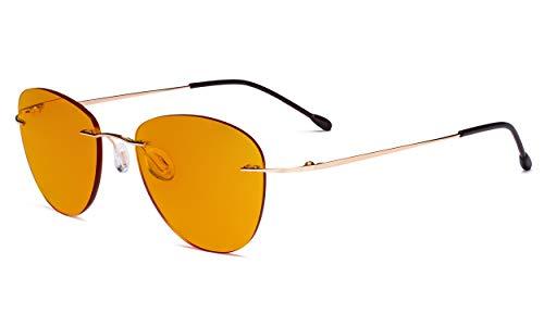 Eyekepper Blaulicht blockiert Computer Lesebrille mit orange getönten Filtergläser zum Schlafen in der Nacht - Randlose Pilot-Brillen Anti-UV-Strahlen Blendung Damen,Gold +1.00