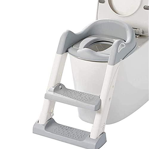 eewopjkj Escalera de Taburete Ancho Antideslizante para niños pequeños Silla de Inodoro para niñas niños niños Asiento de Entrenamiento para IR al baño con Escalera Ajustable Gris