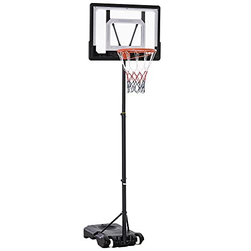 HOMCOM Basketballständer höhenverstellbar Basketballanlage für Kinder Basketballkorb mit Räder draußen Stahl PVC HDPE Schwarz 83 x 75 x 206-260cm