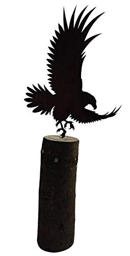 Dekostüberl Rostalgie Edelrost Adler fliegend auf Spieß 50x35cm, inkl. Herz 8x6cm für Holz Gartendeko Vogel Tierfigur