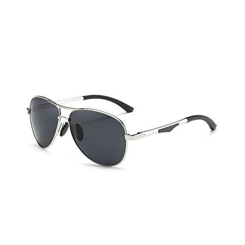 AORON Polarisierte Sonnenbrille Herren Outdoor Sportarten Schutz Brille UV-Schutz Fahrbrille (Silber)