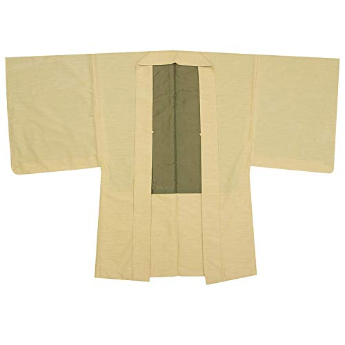 KYOETSU Herren Haori Kimono Jacke waschbar gefüttert Tsumugi Awase -  Gelb -  Large