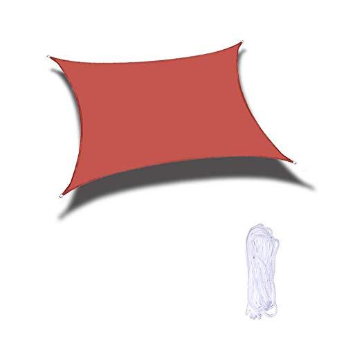 XISENOCI Tenda da Sole impermeabile Vela 95% a Prova di UV Giardino Balcone Cortile Patio Copertura per tettoia esterna Anelli di tensione montati, 5 Colori (Colore: Rosso, Dimensioni: 6x9m)