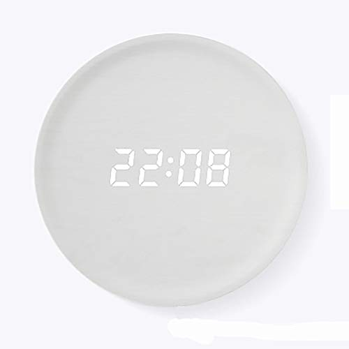 Preisvergleich Produktbild LOTOS Einfache Massivholz Kreative Wanduhr Wohnzimmer Schlafzimmer Stumm Energiesparende Wanduhr Hölzerne Uhr Persönlichkeit LED Intelligente 12 Zoll Uhren, Silver, Socket