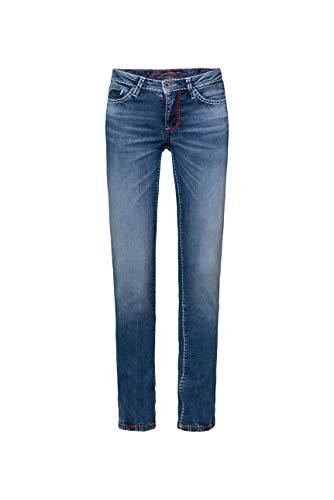 SOCCX Damen Jeans RO:My mit geradem Bein und Used Look