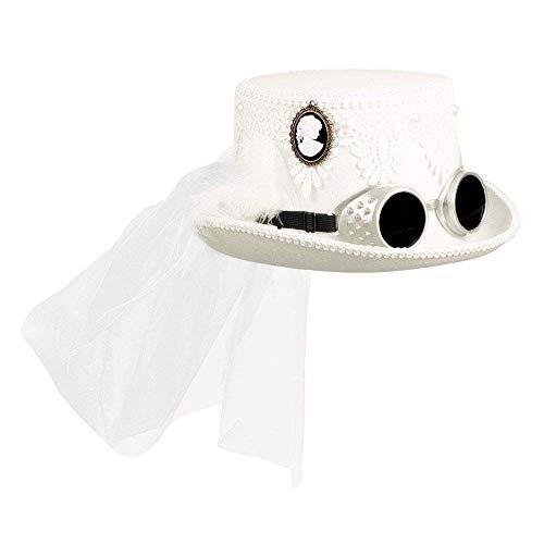 Boland 54563 - Hut Marrypunk, mit Brille und Schleier, Weiß, Steampunk, Braut, Hochzeit, Mottoparty, Karneval