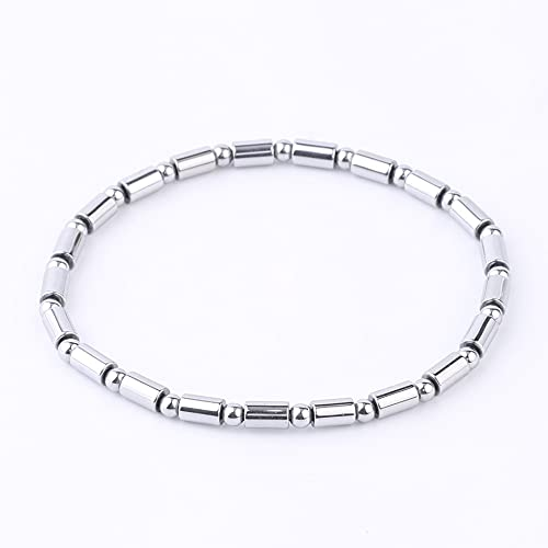 Beaded Bracelets For Men,Fashion Silver Hematite Natural Stone Magnetic Cylindrical Bracelet Lucky Elastic Balance Bangle Yoga Jewelry Gift For Men Women