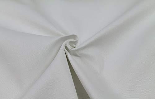 Generico Tessuto Idrorepellente al Mezzo Metro - Stoffa ANTIMACCHIA in Poliestere - Oxford Canvas - Morbido e Resistente - Altezza 140 cm - 1 QTA = 50 cm - 21 Colori (Bianco)
