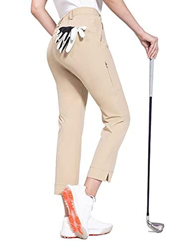BALEAF Women s Golf Pants Stretch Lightweight Quick Dry Water Resistant Work Pants with Zipper Pocket Khaki Size M