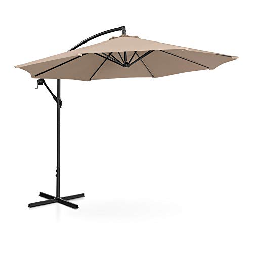 Uniprodo Ampelschirm Uni_Umbrella_R300CR Gartenschirm (rund, Ø 300 cm, neigbar, Creme)