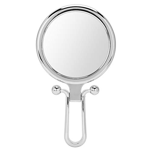 DERCLIVE Espejo cosmético plegable plegable 5X Espejo de maquillaje de doble cara (plata)