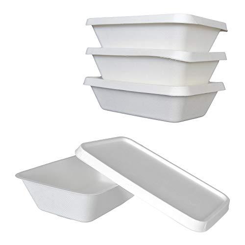 PZ 50 VASCHETTA Materiale 100% Canna da Zucchero BIO-Eco (1000CC) + PZ 50 COPERCHI (IDONEO per MICROONDE) Ideale per L ASPORTO di Alimenti FRITTI, INSALATE, Sushi E Riso