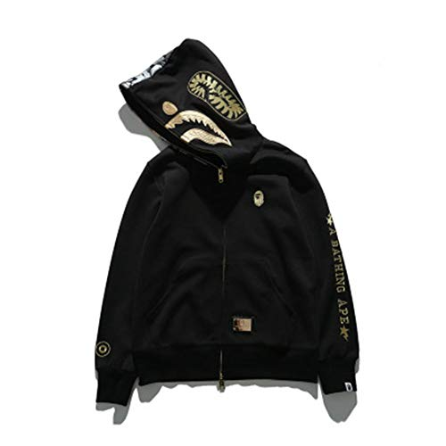yur67 Bape Black Gold Embroidered Space Cotton Shark Hooded Sweater Hoodie for Men/Women