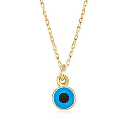 Damen Halskette aus 14 Karat - 585 Echt Gelbgold mit Goldanhänger Auge Amulett gegen den Bösen Blick, Eyeanhänger, Nazar Boncuk, Geschenk für Geburtstag Weihnachten - Kette 45 cm