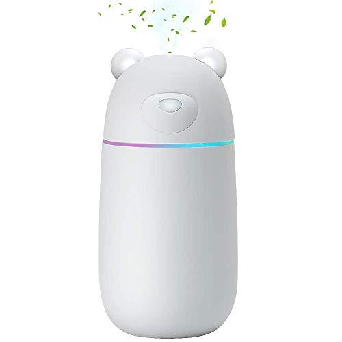 MANLI Humidificador Ambiental 300ML, Vaporizador Ultrasónico para Habitación con Conexión USB Luz LED para Hogar Oficina Coche Dormitorio Viaje Niños Adultos - Blanco