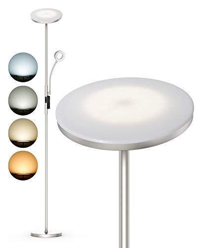 Lampara de pie LED ANTEN LATONA   30W+5W, con Luz de Lectura   Regulable 4 Temperaturas de Color, con Mando a Distancia   Níquel Moderno   para Salón, Dormitorio, Oficina, Hotel   Diseño 2021