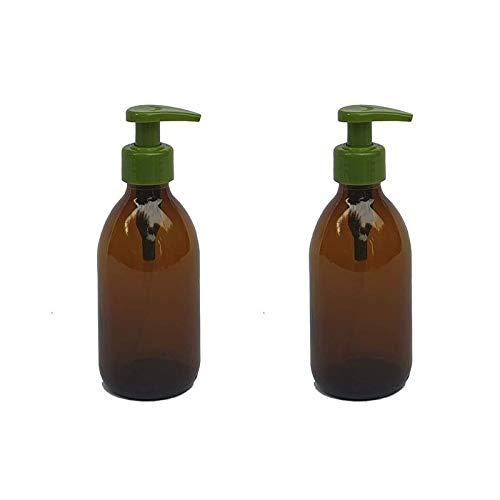 Versandfuxx24 - 2er Set Seifenspender | Lotionsspender 250 ml Glas Braun