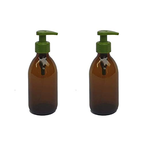 Versandfuxx24 - Juego de 2 dispensadores de jabón | Dispensador de loción de 250 ml de cristal marrón.