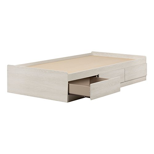 "South Shore 11953 Mates Bed with 3 Drawers Fynn Twin, 39"", Winter Oak"