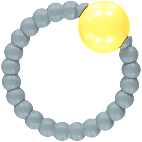 NIBBLING Teething Rattle Ring (Grey and Yellow)   BPA Free Non-Toxic Silicone Teether   from Newborn 0+   Sound and Texture   Safety Tested in The UK   Reusable Packaging   Stylish Baby