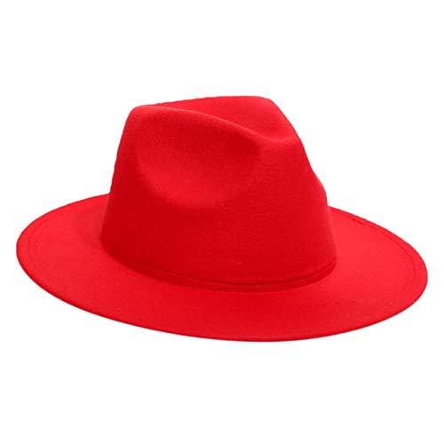 Hombres Mujeres Sombrero Fedora Invierno Mujeres Sombreros de Fieltro Hombres Moda Negro Top Jazz Sombrero Fedoras Chapeau Sombrero Mujer-Red