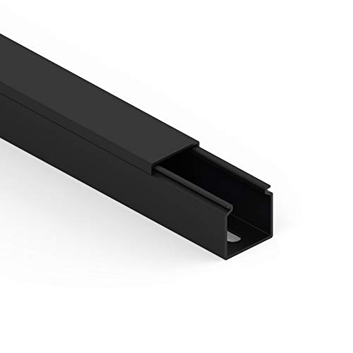 Habengut Kabelkanal (mit Montagelochung im Boden) 25x25 mm aus PVC, Farbe: Schwarz, Länge 1 m