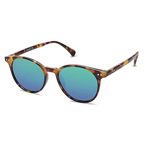 SOJOS Damen Herren Sonnenbrille Polarisiert Brille UV400 Schutz Vintage Runde Kleine für Schmales Gesicht SJ2113 (C9 Demi Rahmen/Blau-Grünliche Linse)