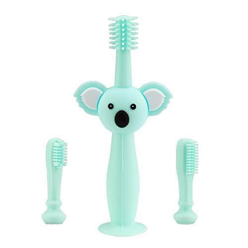Vicloon Baby Zahnbürsten, Silikon Zahnbürste mit Koala-Kopfgriff, Saugnapf-Design und Silikon Schutzring, Baby Mundpflege Einschließlich Aufbewahrungsbox & 2 Stück Austauschbare BürstenKöpfen - Cyan