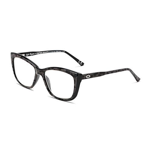 Sofia Vergara x Foster Grant Gloria - Gafas de lectura cuadradas para mujer, Estampado de leopardo gris sobre base negra., 51 mm