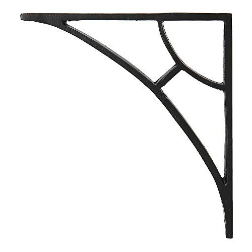 Set of 2 Classic 6 1/2 X 6 3/4 Inches Iron Shelf Brackets with Black Powder Coat Finish Heavy Duty Adjustable Support Brackets Easy Installation Hardware
