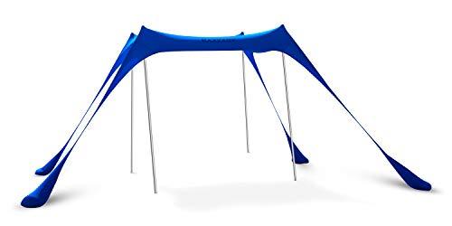 KAZZARY Beach Tent Canopy - 4 Pole Sun Shade Pop Up-Outdoor Backyard UPF50 UV Protection Lightweight-Water Resistant, Windproof Fabric-Tall Aluminum Poles Portable & Flexible Family Shelter Tarp