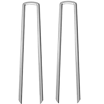 AAGUT Garden Stakes Fence Ground Stake Tent Anchors Yard Metal Landscape Staples Heavy Duty Galvanized 12 Inch 8 Gauge 20 Pack Lawn Pins for Dog Fencing Weed Barrier Fabric Chicken Wire