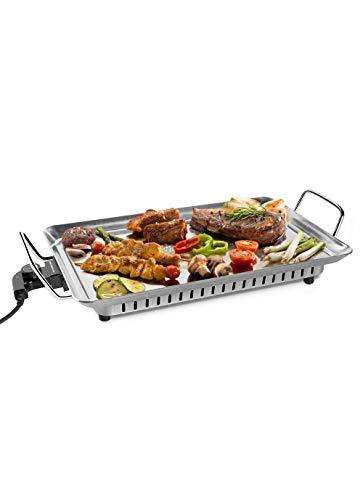 Mondial TC04 Plaque de grill LAMONDIAL, 1600W, acier inoxydable, répartition uniforme de la chaleur, thermostat Pro haute précision, 2 mètres de câble, sans PFTE ni PFOA, Inox