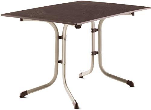 SIEGER 3160-60 Boulevard-Klapptisch mit vivodur-Platte 120x80 cm, Stahlrohrgestell, Tischplatte Schieferdekor, Champagner/Schiefer Mocca
