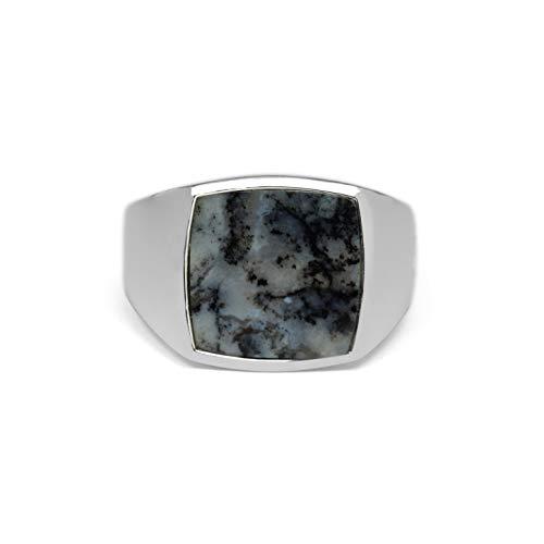 Sprezzi Herren Silber Ring Siegelring mit Stein marmoriert Agate aus 925 Sterling Silber quadratisch eckig poliert glänzend | Moderner Echtsilber Männer-Schmuck aus Deutschland mit Geschenkbox (66)
