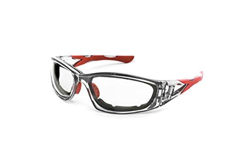 PEGASO 990.08.1005 990.03-Gafas Proteccion Gama Anti-Impact Modelo F1 Lente PC Incolora Antivaho, Gris Y Rojo, L