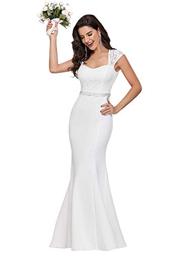 Ever-Pretty Vestido de Boda Sirena Largo para Mujer Escote Corazón Mangas Casquillo con Encaje Bohemia Blanco 38