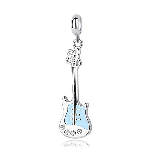 Angelazy Colgantes De Plata 925 para Mujerm,Moda Cute Chainless Romántica Guitarra Música Azul Forma Encante para Damas Accesorios Joyas Regalo De Cumpleaños Parte Accesorios