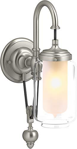 Kohler K-72581 - Lámpara de pared para baño (níquel cepillado, regulable, 4 - 1/8 de ancho)